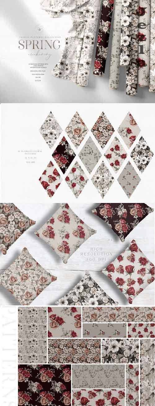 Watercolor Floral Seamless Patterns Digital Papers JPEG - 1109345