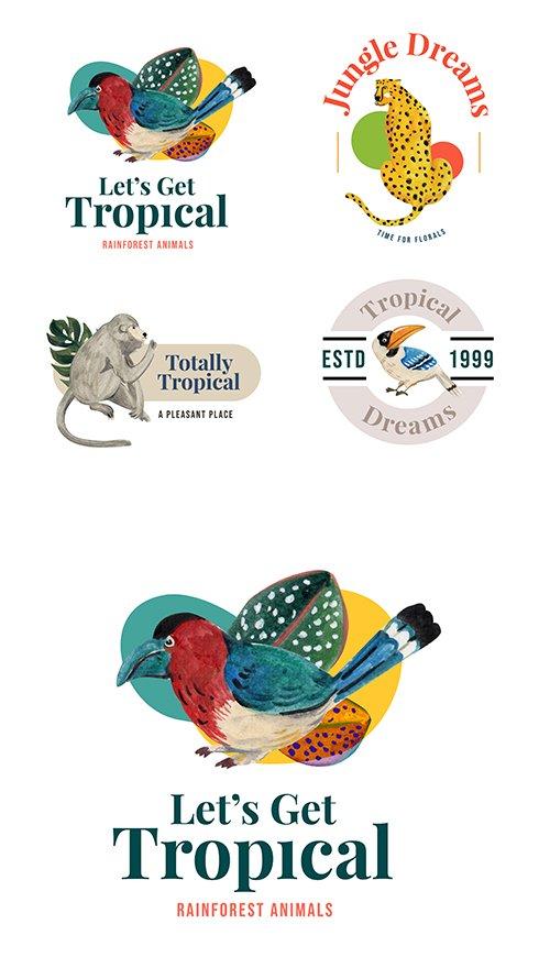 Tropical birds design watercolor company logos