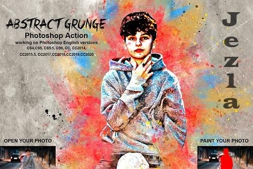 CreativeMarket - Abstract Grunge Art Photoshop Action 5490581