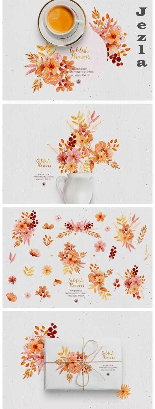 Goldish Flowers - watercolor set - 5661246