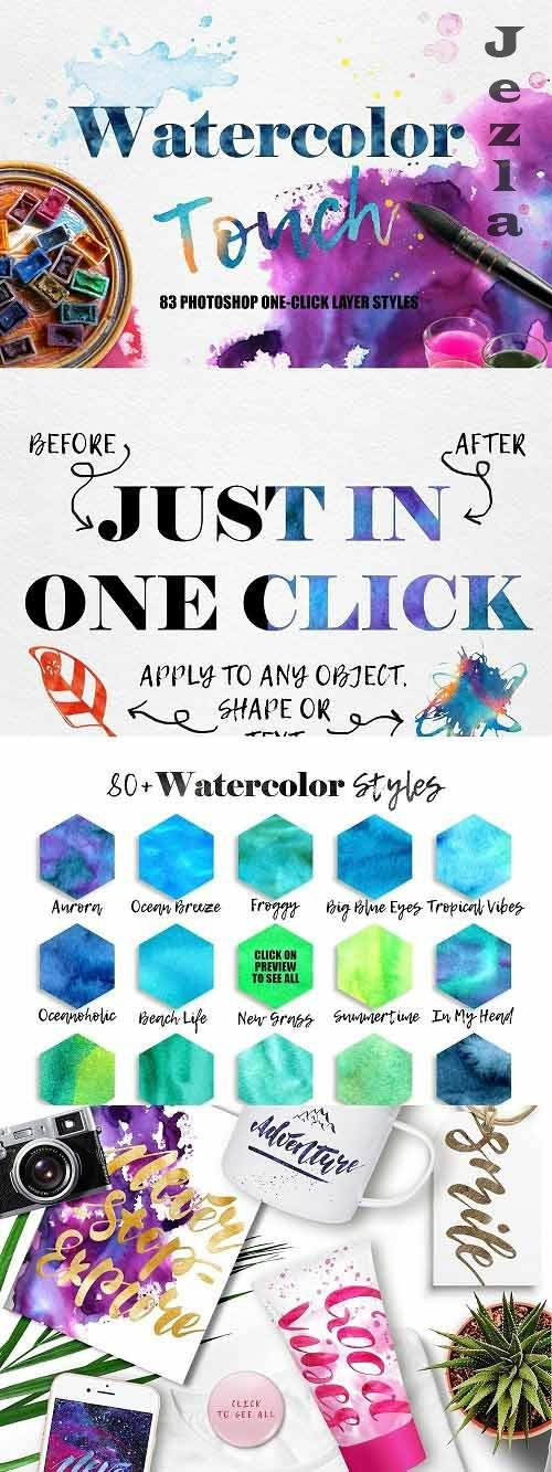 CreativeMarket - Watercolor PHSP Layer Styles 5570845