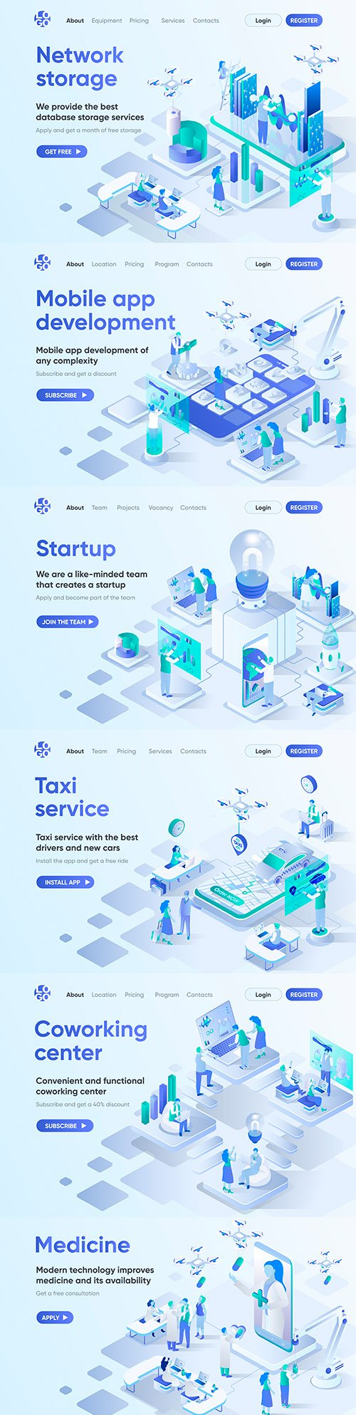 Business people and new technologies 3d isometric concept