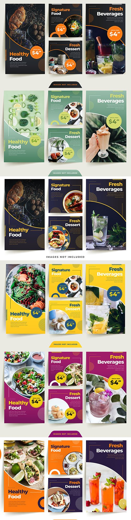 Healthy food sale and special offer design banner social networks