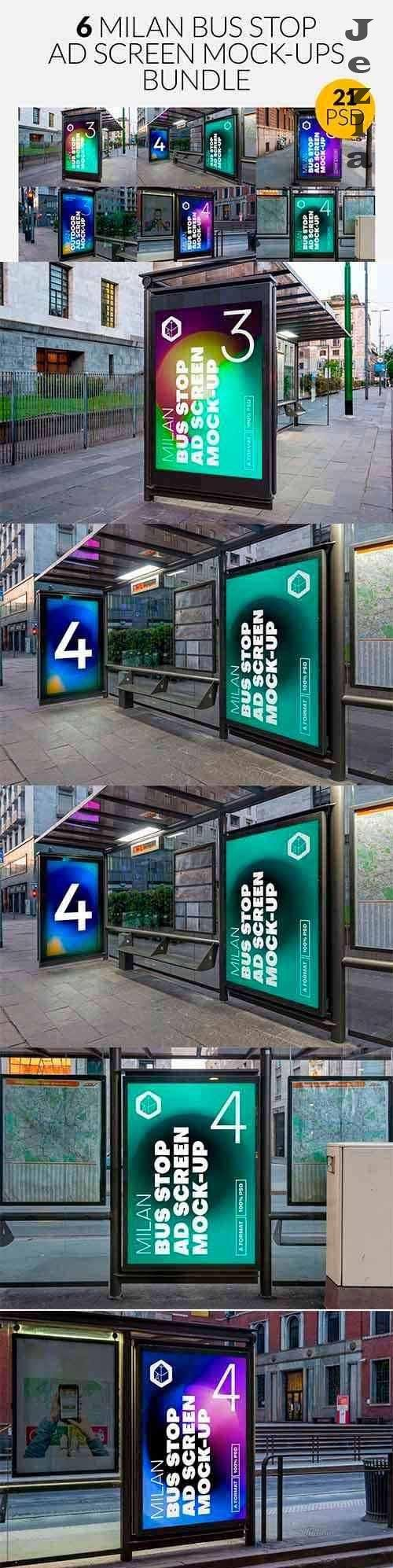 CreativeMarket - Milan BusStop Ad Screen MockUps Set 5488880