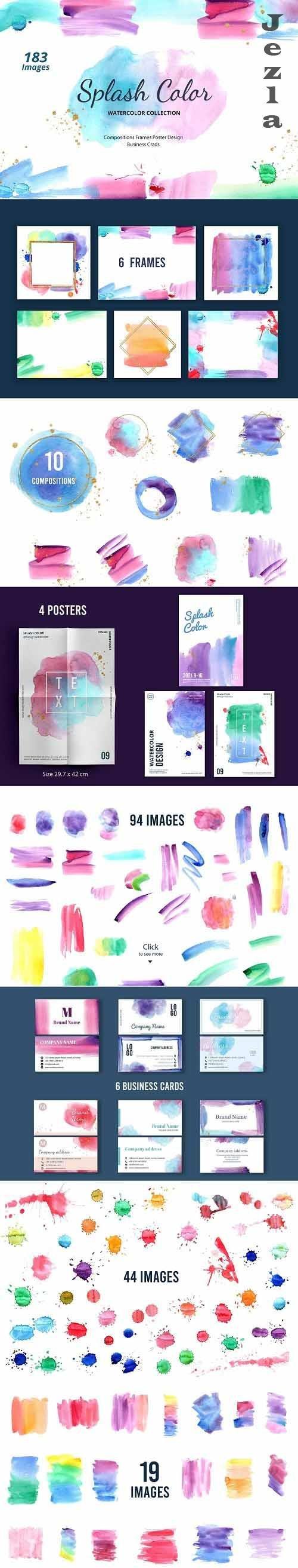 Splash Colorful Rainbow Watercolor - 5729537