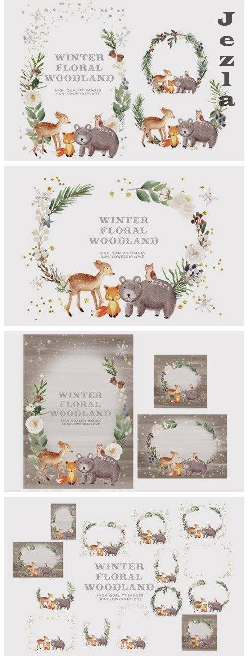Frame Watercolor Winter Woodland, Christmas Animal Clipart - 1103911