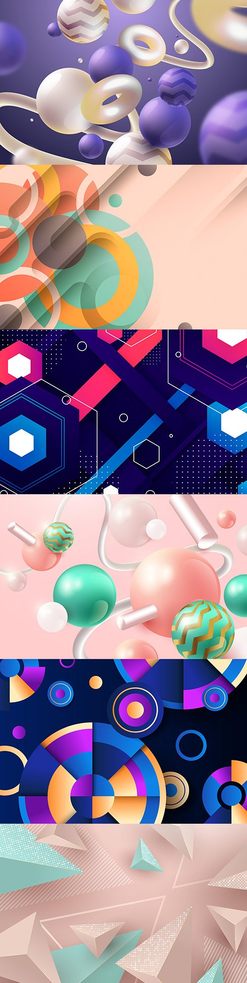 Abstract background with geometric shapes and spheres