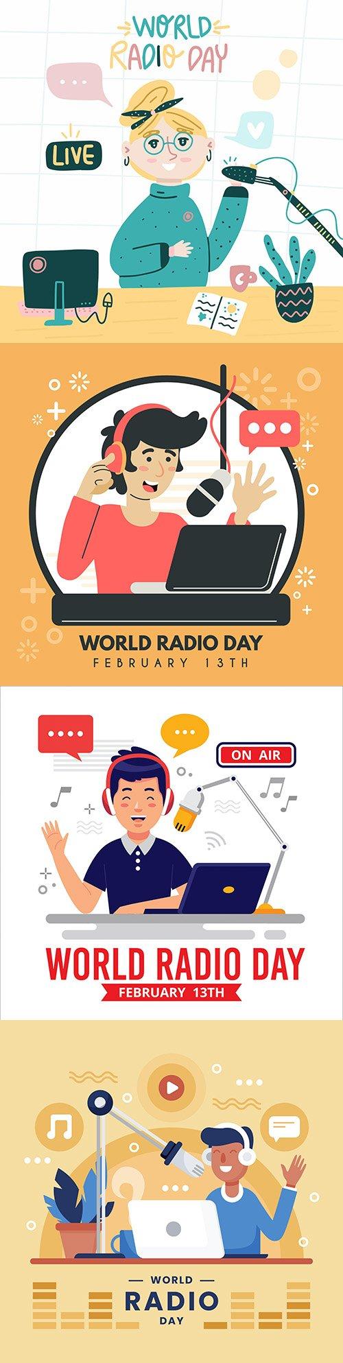 World Radio day background flat design illustration 2