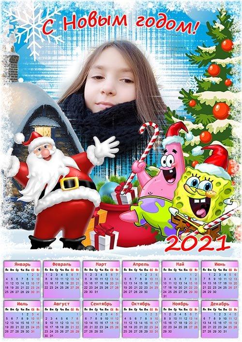 Календарь на 2021 год - Новый год с Спанч Бобом