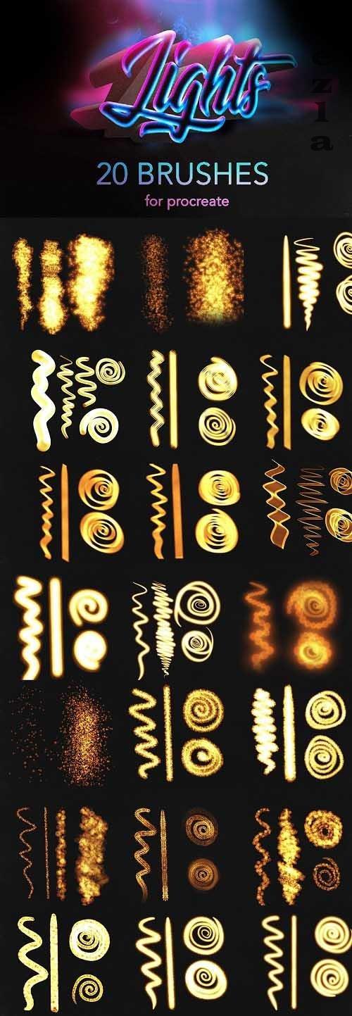 CreativeMarket - Procreate lights brushes / glow 5498789