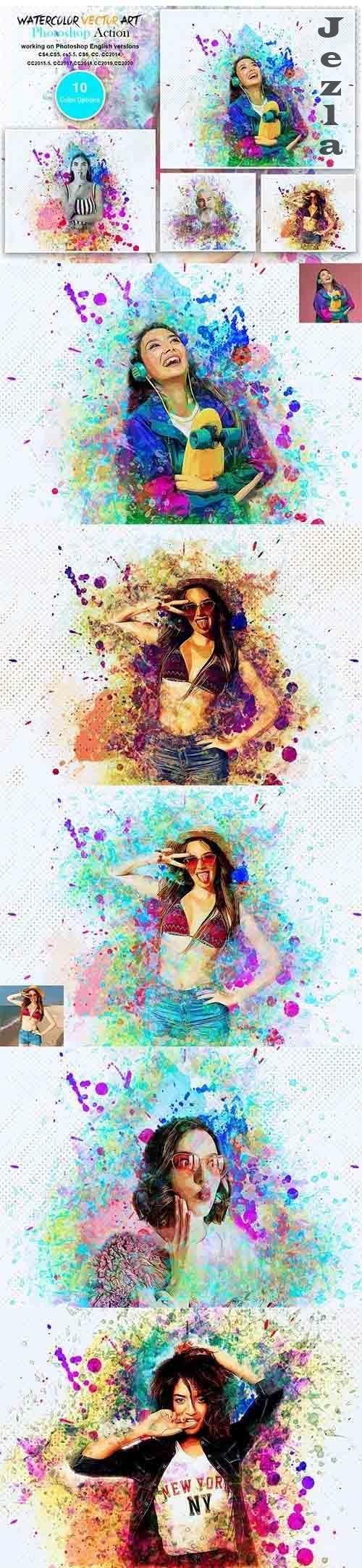 CreativeMarket - Watercolor Vector Art PS Action 5566054