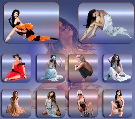 Прозрачные клипарты для фотошопа - Девушки красавицы