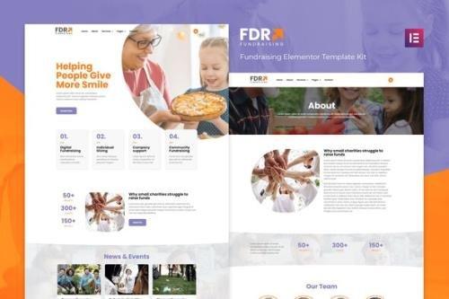 ThemeForest - FDR v1.0.0 - Fundraising Elementor Template Kit - 29783433