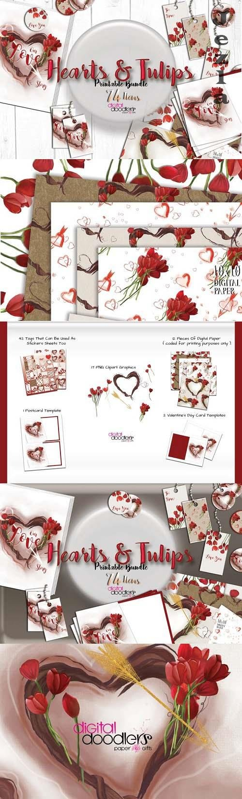 Hand Painted Hearts & Tulips Bundle - 54020 - Cupid Hearts Watercolor Bundle