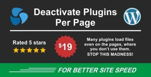 CodeCanyon - Deactivate Plugins Per Page v1.12.0 - Improve WordPress Performance - 23801359