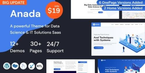 ThemeForest - Anada v1.2.0 - Data Science & IT Solutions Saas WordPress Theme - 28914138