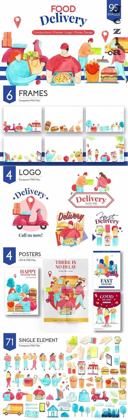 Food Delivery Watercolor - 5755517