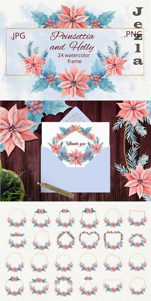 Holly and Poinsettia. Watercolor frames - 1135633