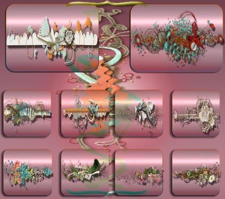 Клипарты для фотошопа - Цветочные бордюры