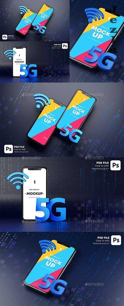 GraphicRiver - Smartphone Mockup Hologram. Dark Background Technology Concept 3D Rendering 29902887