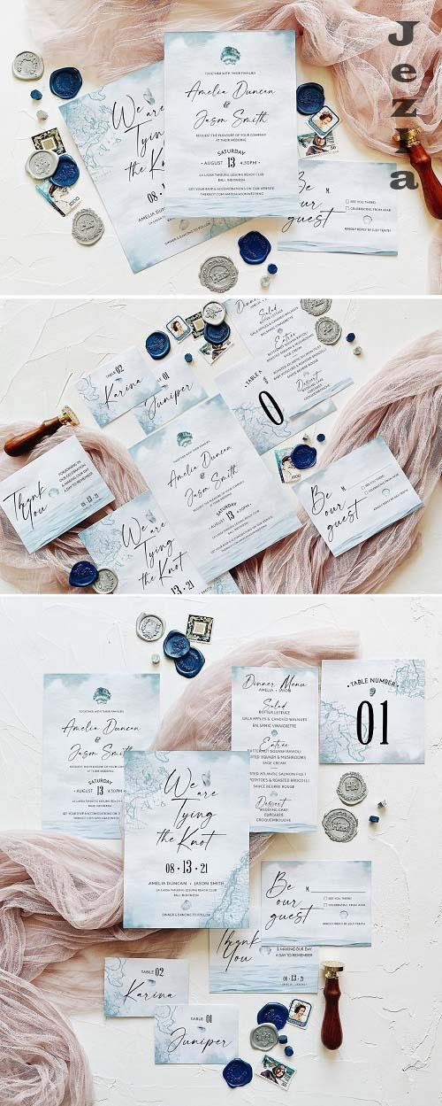 Nautical Wedding Invitation Suite - 5758434