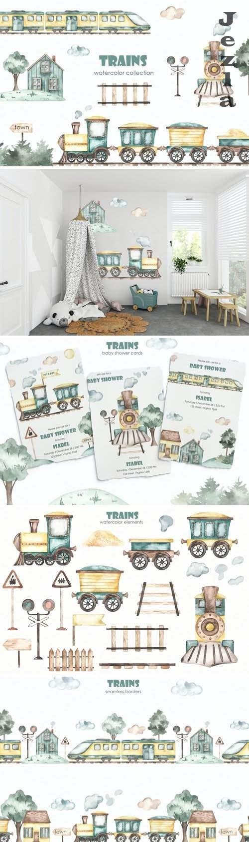 Trains watercolor collection - 5699816