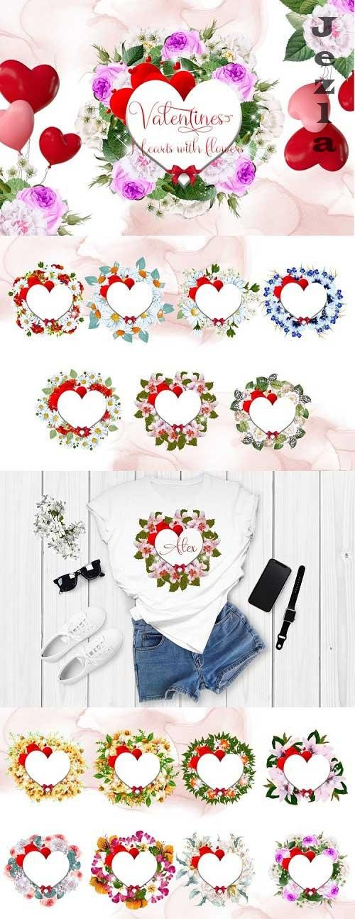 Valentines Hearts with Watercolor Flowers - 1136204