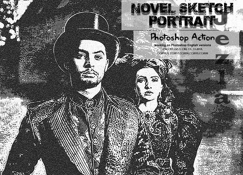 CreativeMarket - Novel Sketch Portrait PS Action 5674328