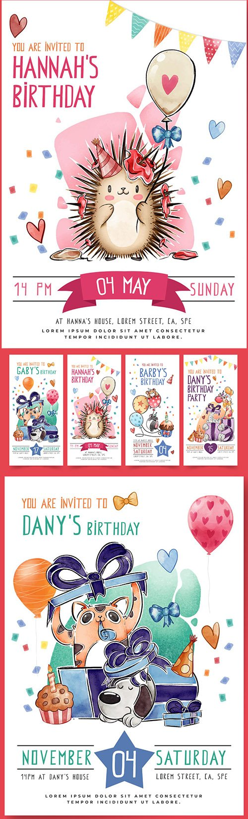 Children's template greeting card and instagram stories on birthday
