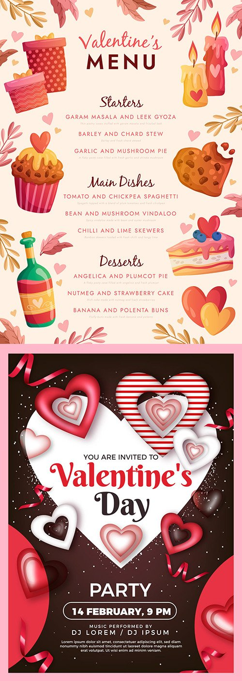 Valentine's Day poster template for party and menu design