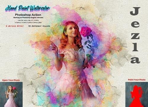 CreativeMarket - Hand Paint Watercolor Photoshop Action 5628157