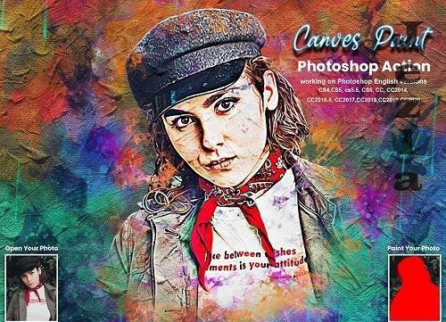 CreativeMarket - Canvas Paint Photoshop Action 5634725