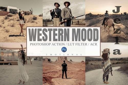 7 Western Mood Photoshop Actions, ACR, LUT Presets - 1139253