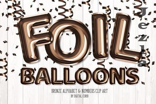 Bronze Foil Balloon Alphabet Clipart - 5757906