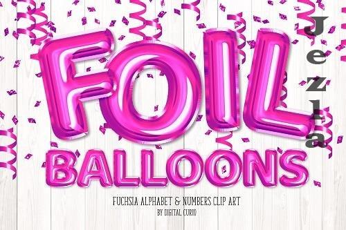 Fuchsia Foil Balloon Alphabet Clipart - 5757919