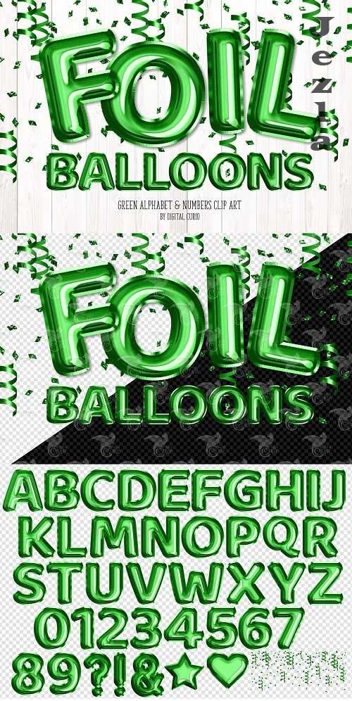 Green Foil Balloon Alphabet Clipart - 5757925