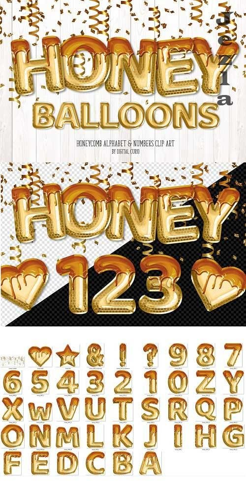 Honey Foil Balloon Alphabet Clipart - 5760675
