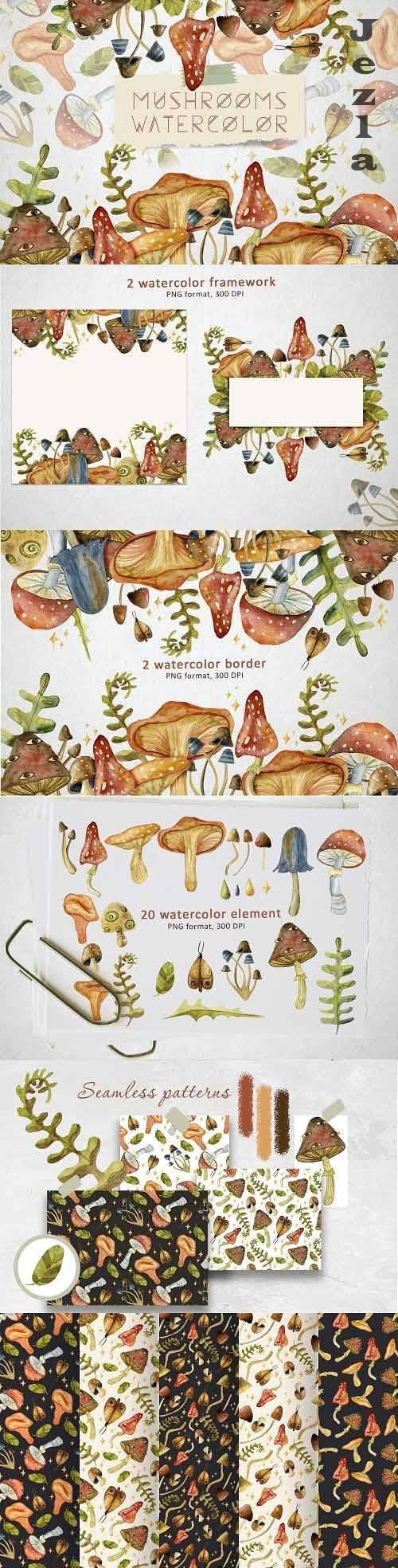 Watercolor Mushrooms - 5764505