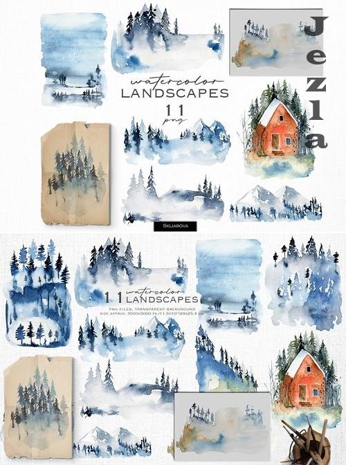 Watercolor landscapes - 1139521