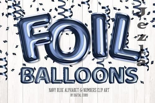 Navy Foil Balloon Alphabet Clipart - 5760707