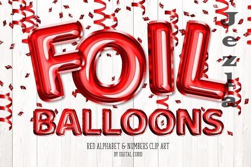 Red Foil Balloon Alphabet Clipart - 5760788