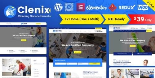 ThemeForest - Clenix v1.4.6 - Cleaning Services WordPress Theme - 25009704