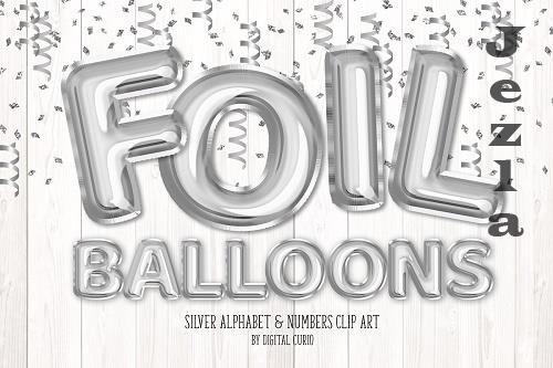 Silver Foil Balloon Alphabet Clipart - 5760798
