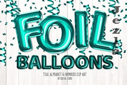 Teal Foil Balloon Alphabet Clipart - 5760800