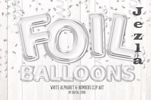 White Foil Balloon Alphabet Clipart - 5760817