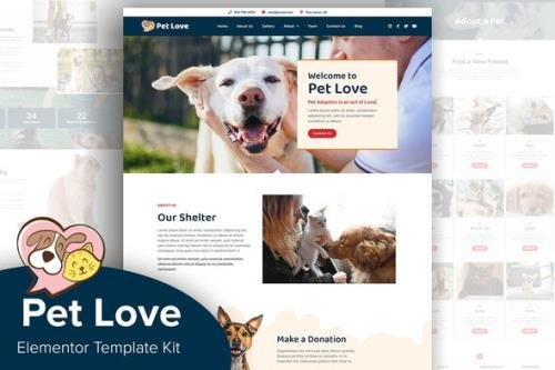ThemeForest - Pet Love v1.0.0 - Animal Shelter Elementor Template Kit - 29977713