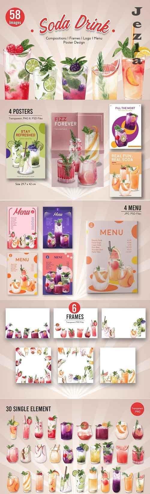 30 Mixed Fruit Soda Drink Watercolor - 5741309