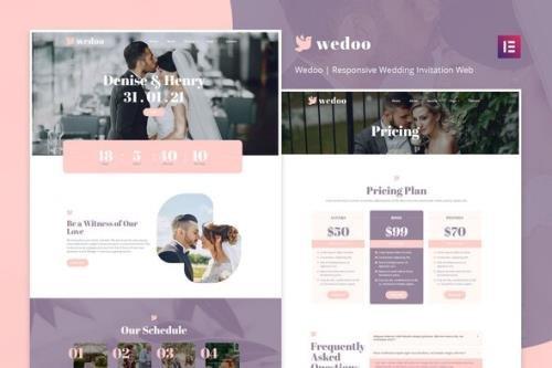 ThemeForest - Wedoo v1.0.0 - Online Wedding Invitation Elementor Template Kit - 30048473