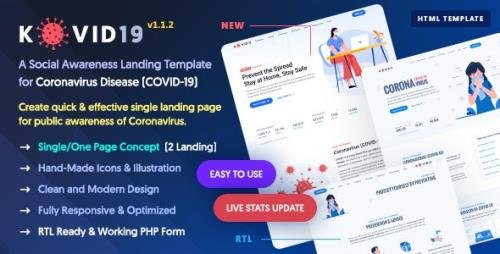 ThemeForest - KOVID19 v1.1.2 - Coronavirus (COVID-19) Prevention & Awareness HTML Template - 26150515