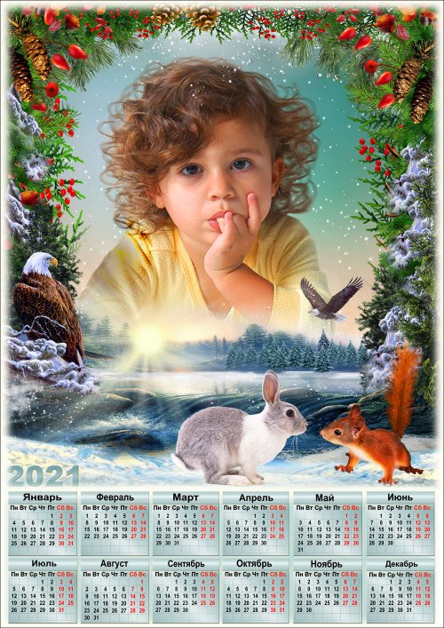 Рамка для фото с календарём на 2021 год - Солнце на лето зима на мороз